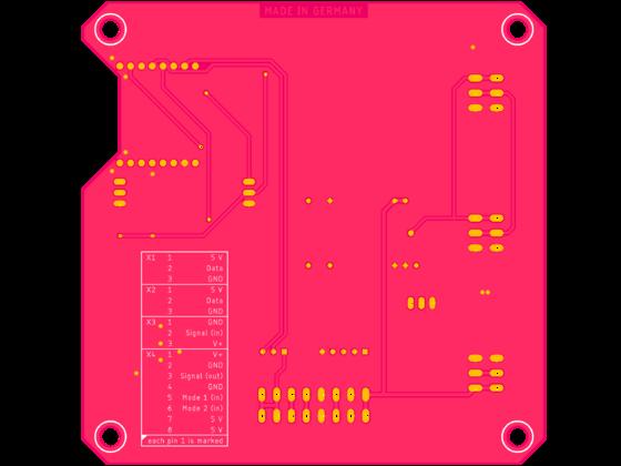 PCB Entwurf in der Version 1.1 (Lötseite)