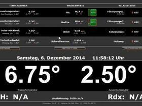 Übersichtsseite Poolsteuerung. Ein Demo gibt es unter http://demo.poolcontroller.de/gui/phase2