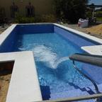 Erstes Wasser in den Pool