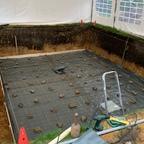 Vorbereitet fürs Betonieren der Bodenplatte